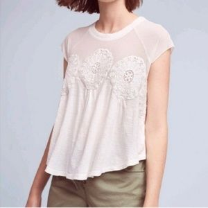 Anthropologie meadow rue medallion top mesh croche